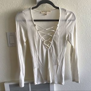 Urban outfitters lace up cozy top